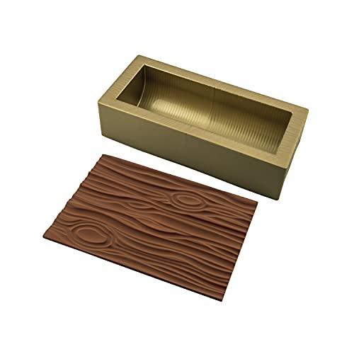 silikomart 25.057.99.0063 Kit bûche Wood, Autre, Or/Marron, 25 x 9 h 7