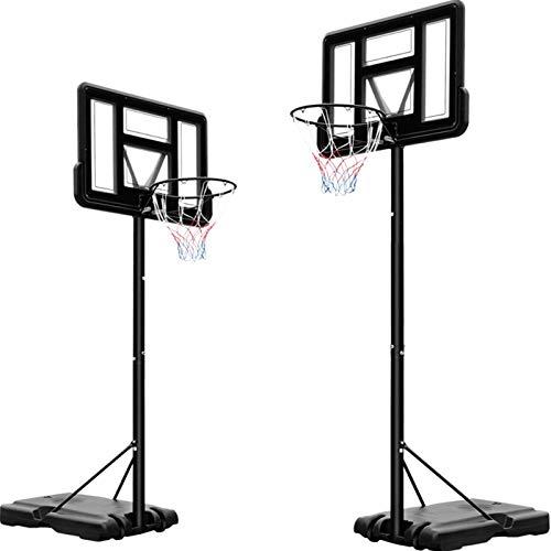 Canasta de baloncesto, 230 - 304 cm ajustable , con pie con poste de panel y ruedas, portátil, marco de acero, para jóvenes exteriores e interiores