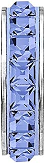 SWAROVSKI pave Stopper Bead Light Sapphire Color Stainless Steel Becharmed 15 mm-3.30 mm