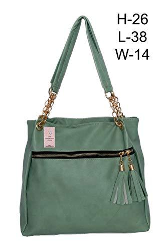 NGS Women Pista Colour Handbag With Pocket,Daily Purpose Bag