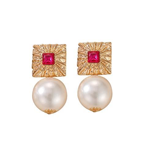 HINK Personalidad Exagerada Plaza Aleación Pendientes de Diamantes Americana Temperamento Colgante de Perlas Pendiente Mujeres Joyas Relojes Pendientes