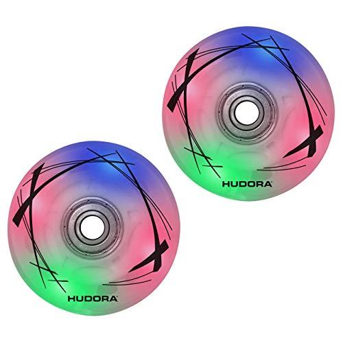 HUDORA 85062 2 LED Ersatzrollen, 64mm x 22mm für Inline Skates, bunt