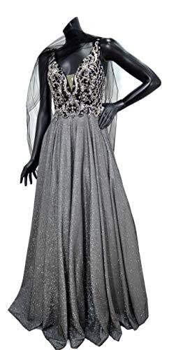 Yada - Vestido largo de ceremonia para mujer, art. 019a oro negro purpurina purpurina