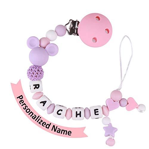 MCGMITT Schnullerkette mit Namen Mädchen Maximal 9 Buchstaben Longe Personalisierte Zahnen Silikon Selber (purple)