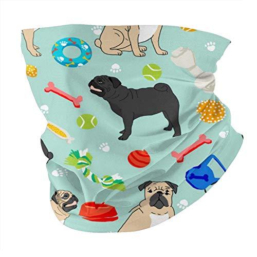 Xinflag@10 Pugs negros y bronceados con juguetes para perros, máscara facial de menta, bufanda de la cabeza, bufandas variadas, gorros mágicos para mujeres y hombres