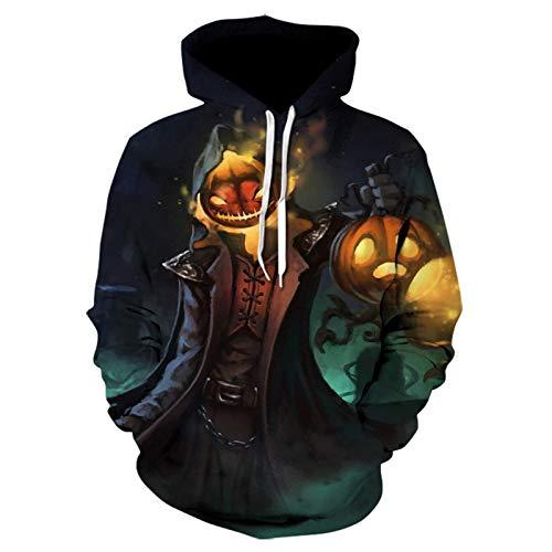SLYZ Autumn and Winter New Men's Sweater, Halloween Pumpkin Lantern 3D Digital Printing Round Neck Drawstring Men's Sweater Black