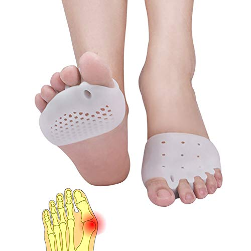 Metatarsal Pads, Toe Separator, Gel Metatarsal Cushion Toe Separators, (4 PCS),New Material, Forefoot Pads, Toe Spacers,Breathable & Soft Gel, Best for Diabetic Feet, Blisters, Forefoot Pain. (White)