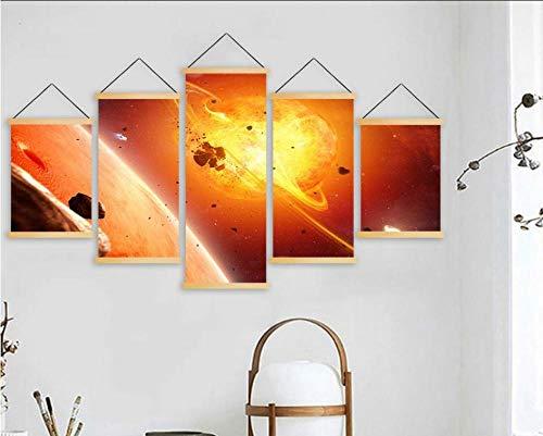 Rkmasterprint op canvas, wooncultuur, muurkunstwerk, 5 panelen, planeet, schilderijen, hout, hangen, scooter, woonkamer, poster, moderne afbeelding