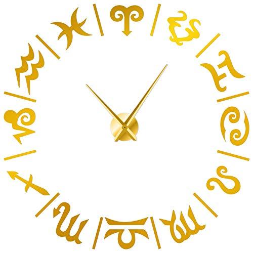 Doce Constelaciones Tema Moderno Kit de Interior Arte de la Pared Sin Marco Grandes Relojes de Pared de Bricolaje Pegatinas de Espejo Mudo Decoración de Escena temática, Dorado, 90 cm