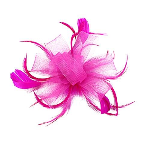 Lurrose Mini pinzas para el pelo fascinador con flor de pluma Barrettes de plumas Broche para el cabello Broche para la mujer