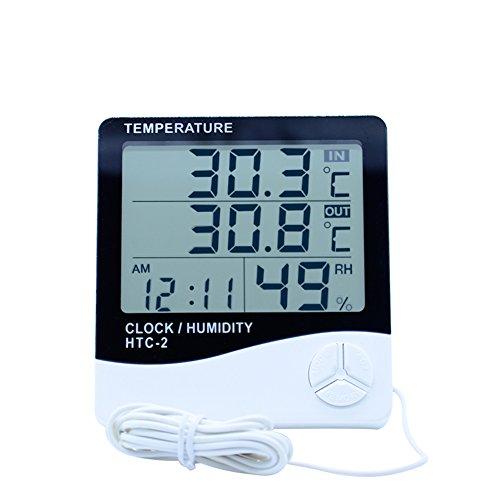 YSCYLY Digital-LCD-Thermometer-Hygrometer-Elektronische Temperatur-Feuchtigkeits-Meter-Innenwetterstation-Tester-Wecker Im Freien