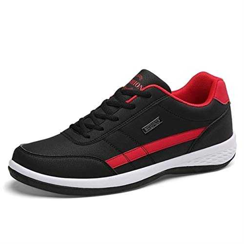 happyselle Men's Fashion Leather Casual Sneakers Sports Running Shoes Red