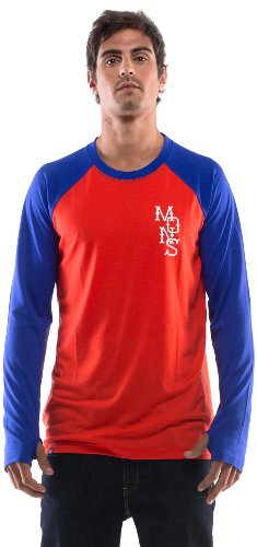 Mons Royale The First Layer pour Homme à Manches Longues Raglan S Rouge - Flame/Blue