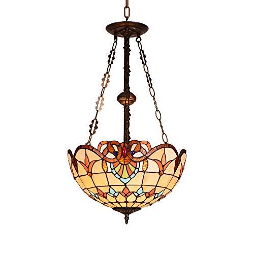 QB Lampadario in Vetro mediterraneo atmosferico Semplice Colore Lampada da soffitto Europea Tiffany Bohemia Caldo Romantico Dipinto Paralume Soggiorno Illuminazione Camera da Letto