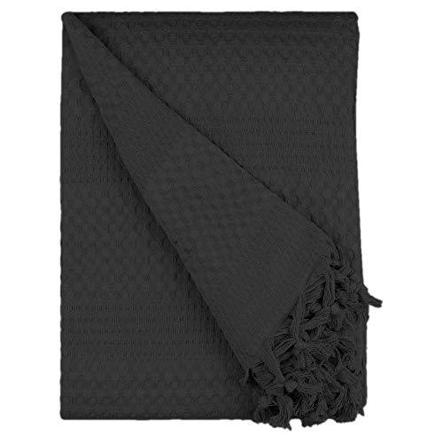 BOHORIA® Premium Tagesdecke 200 x 220 cm - Bettüberwurf Wohndecke Wendedecke Kuscheldecke Sofadecke in Waffeloptik | extra-groß (The Urban Loft) (Obsidian)