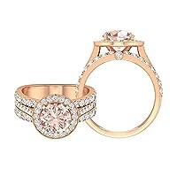 3.75カラットヴィンテージ婚約指輪、人工モルガナイトとモアッサナイト付き (AAA品質), 14K ローズゴールド, Size: 16