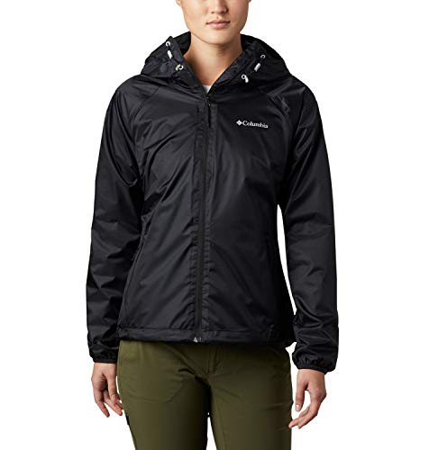 Columbia Ulica Chaqueta Impermeable, Mujer, Negro Brillante (Black Sheen), S