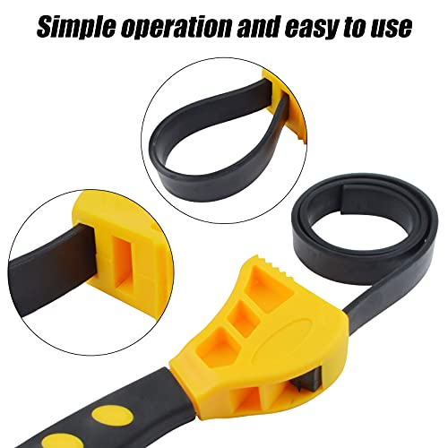 2 Piece Rubber Strap Wrench Set, Universal Adjustable Oil Filter Strap Wrench, Jar Opener Pipe Multi-Purpose Strap Wrench Tools for Mechanics Plumbers Home Kitchen Use (6 In/8 In)