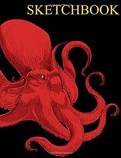 "Sketchbook: Octopus Sketch Book, Unlined Journal Notebook, Ocean Nautical Theme Blank Page Diary, Vintage Red Kraken Sea Monster Theme for Men & Women, Marine Biologist - Teacher Thank You, 7"" x 9"""