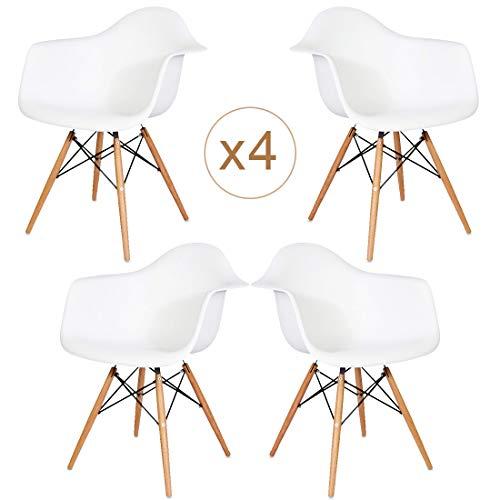 Brigros - Set di 4 Poltrone da Pranzo con Seduta in Polipropilene e Gambe in Legno Massello di Faggio, Design Ergonomico e Moderno, sedie Design, poltrone Design (Bianco)