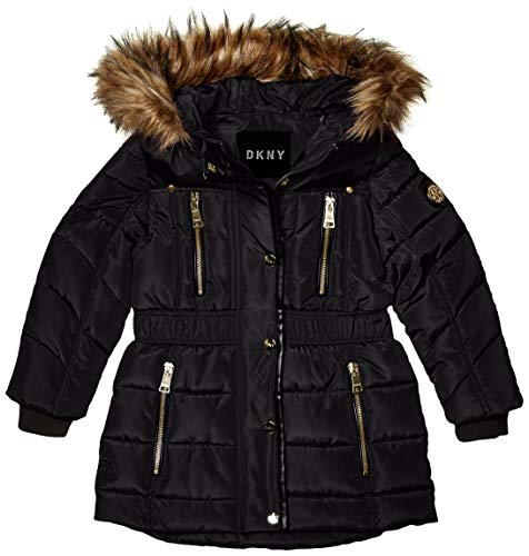 DKNY Girls' Big Puffer Jacket, Cinched Waist Long Black/Natural, 7/8