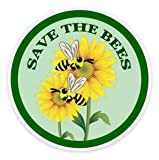 Lilie Créa Pack de 2 Pegatinas de Abejas, Save The Bees, Resistentes a los Rayos UV para Ordenador portátil, Coches, Motos, Bicicletas, monopatín, autoadhesivos, para Coche, Guitarra, etc.