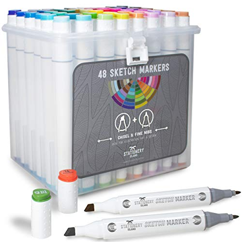 Stationery Island Sketch Markers Pack 48 colores +