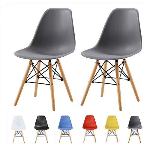 MCC Retro Design Stühle LIA Esszimmerstühle im 2er Set, Eiffelturm inspirierter Style für Küche, Büro, Lounge, Konfernzzimmer etc, 6 Farben, Kult (grau)