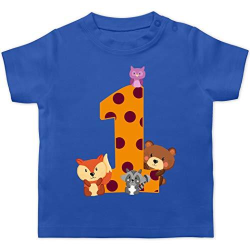 Geburtstag Baby - 1. Geburtstag Waldtiere - 12/18 Monate - Royalblau - geburtstagsshirt 1 Jahr - BZ02 - Baby T-Shirt Kurzarm