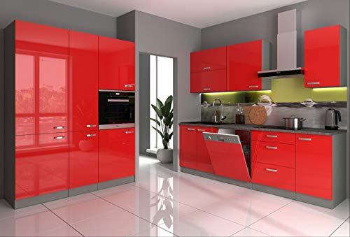 Küche Bianca III 240+160 Küchenzeile Hochglanz Rot Küchenblock Einbauküche Rose
