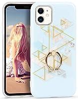 Imikoko iPhone 11 ケース リング付き 携帯カバー スタンド機能 大理石柄 ストラップホール付き かわいい オシャレ 耐衝撃 レンズ保護 6.1インチ ソフトケース (アイフォン11 ブルー三角形)