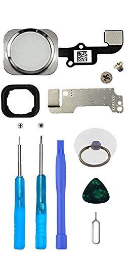 LTZGO Home Button für iPhone 6 und iPhone 6 Plus Weiß Hauptknopf mit Flexkabel Taste inkl. Metal Bracket und die Schutz Armatur Gummidichtung &Reparatur-Tool-Kit/Werkzeugset für einfache Installation
