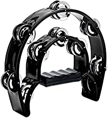Double Row Tambourine, Musfunny Metal Jingles Hand Held Percussion Tambourine Musical Instrument Gifts for Kids and Adults (Black)