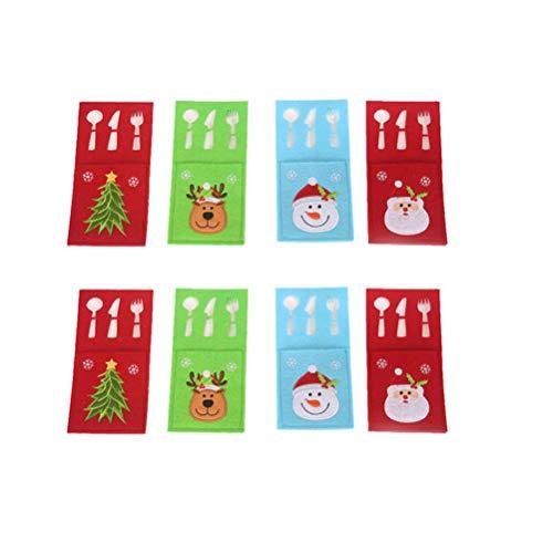 STOBOK Porta Cubiertos de Navidad Cubiertos de Navidad titulares,8 Piezas