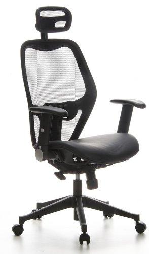 hjh OFFICE 653010 silla de oficina AIR-PORT tejido de malla/piel negro, apoyabrazos plegables, soporte lumbar, apoyacabezas, inclinable, sillon alta gama