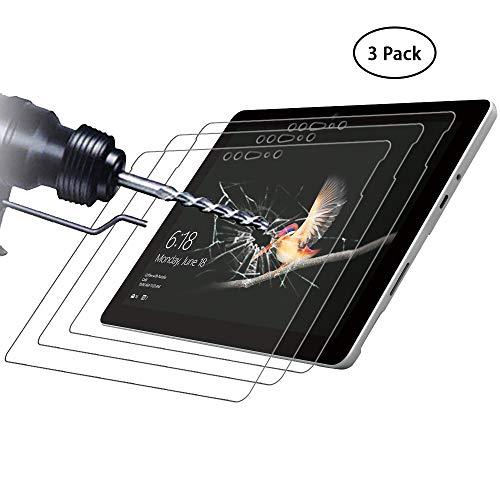 Didisky Panzerglas Hartglas Bildschirmschutzfolie für Microsoft Surface Go 10.0 Zoll, [ 3er Pack ] Kratzfest, 9H Festigkeit, Keine Blasen, High Definition, Einfach anzuwenden, Fall-fre&lich