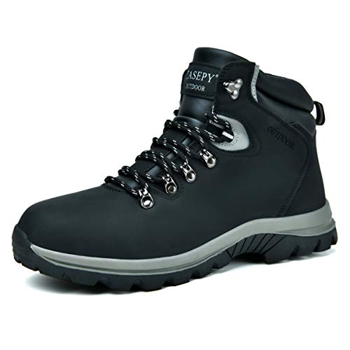 ZASEPY Men's Winter Snow Boots Fur Lined Lightweight Hiking Boots Anti-Slip Water Resistant Outerdoor Trekking Hike Work Shoes Black
