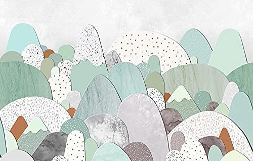 Fotomurales Árboles de Dibujos Animados 3D Efecto Papel Pintado Tejido No Tejido decoración de Pared decorativos Murales Moderna Diseno 450X300Cm