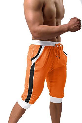 BIYLACLESEN 3/4 Running Pants Men Basketball Shorts Gym Shorts for Men Sweatpants for Men Yoga Pants Mens Capri Sweatpants Mesh Pants Orange