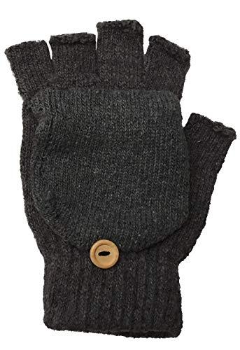 2 Paar Winter-Handschuhe Flip unisex, fingerlos Strick-Design mit Klappdeckel für die Fingerkuppen, Dunkelgrau, Einheitsgröße