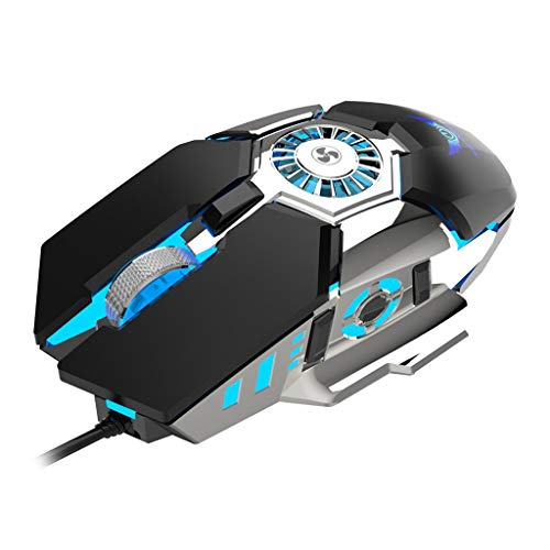 Prettyia Professional RGB Gaming Mouse Innovative Anti-Sweat Palm Cooling Gamer Mouse DPI Adjustable High Precision Gaming Mice with Cooler Fan - Black
