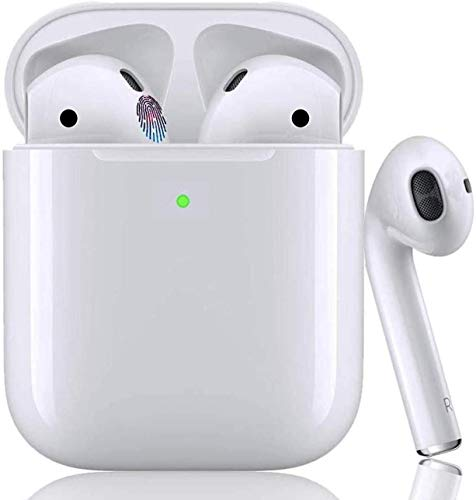 Wireless Earbuds Auricular Bluetooth inalámbrico HiFi Estéreo In-Ear Bluetooth con Caja de Carga(Blanco)