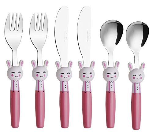 EXZACT Cubertería infantil 6 pieza para niños de Acero Inoxidable - 2 x cena cuchillo, 2 x cena tenedor, 2 x cena cuchar (Conejo x 6)