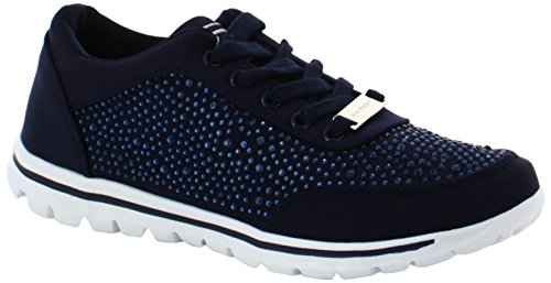 Laura Biagiotti Damen Lace Sneaker, Marineblau, 36 EU