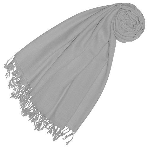 Lorenzo Cana Premium Damen Pashmina Frauenschal Schaltuch 50% Kaschmir 50% Wolle Stola Tuch Umschlagtuch Uni Schal Tuch einfarbig grau