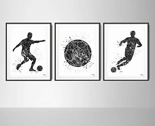 Juego de 3 jugadores de fútbol en blanco y negro con impresión de acuarela de fútbol, fútbol, hombre, niño, deportes, guardería, habitación de habitación deportiva, póster de pared decorativo 1790