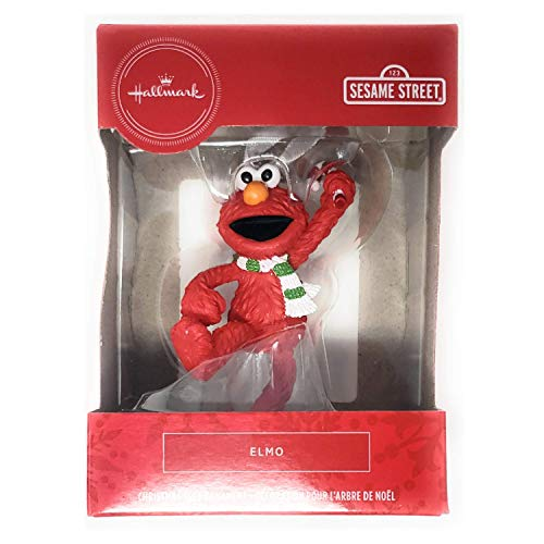 Elmo Wearing Scarf and Holding Candy Cane Tree Ornament