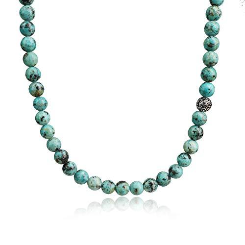 COAI Collana con Perle in Turchese Africano e Perla Amuleto Shou in Acciaio Inox 65cm