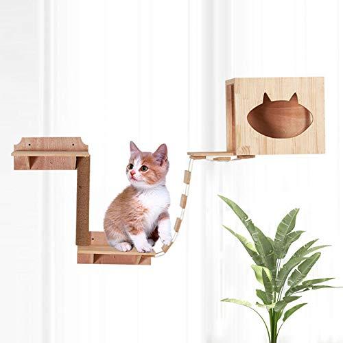 Foochow Gato Escalera, Escalera Puente del Gato, Gato Salón Hamaca Montado En La Pared del Gato Perca, Cat Muebles Actividad Centro De Juegos
