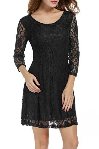 Zeagoo Damen 3/4 Ärmeln Spitzenkleid Festliches Kleid Partykleid A-Linie Kleider (EU 36 (Herstellergröße: S), Schwarz) - 3